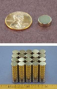 K&J Neodymium Magnet Disc 3/8 in. Dia. x 1/8 in. Thk Nickel Plated-0